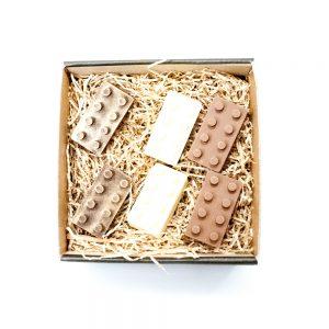 Bygge LEGE klodser i blandet chokolade i lille gaveæske 120 g